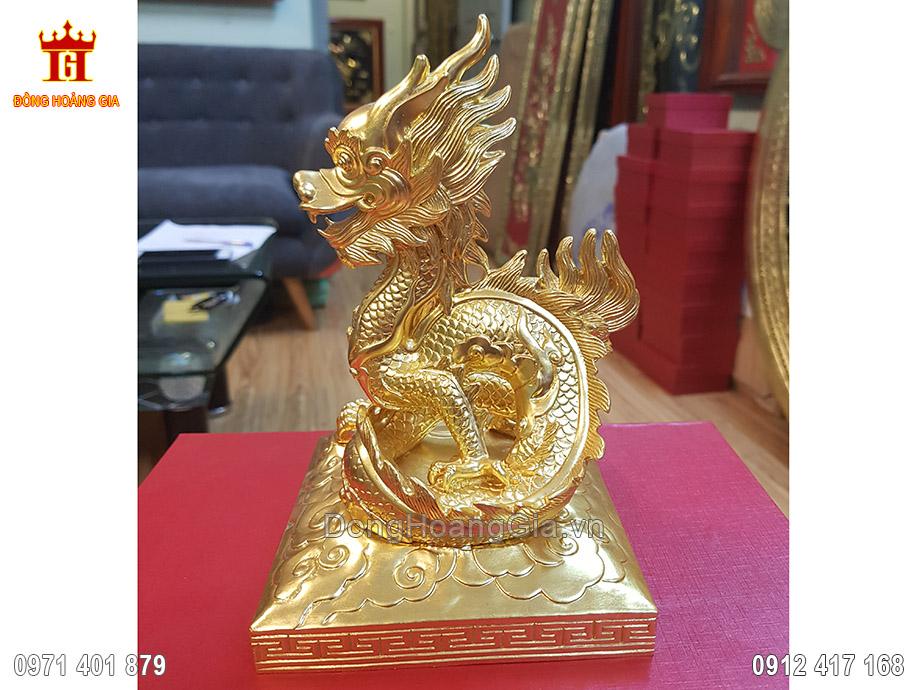 Ấn Rồng phong thủy bằng đồng dát vàng 24K