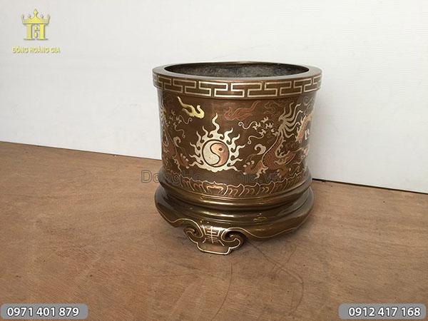 Bát hương bằng đồng tam khí đường kính 25cm