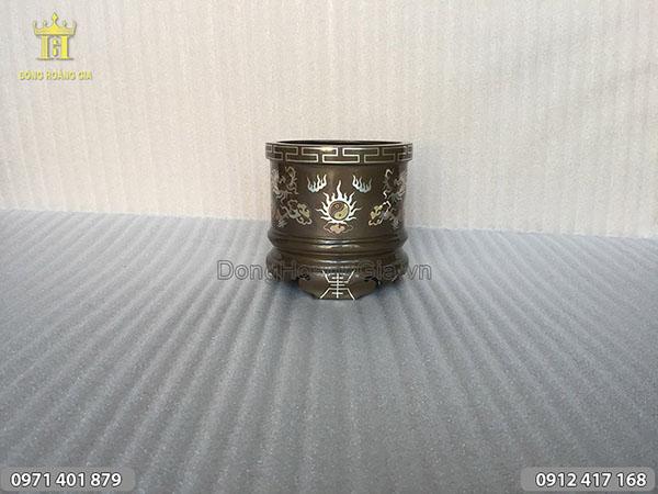 Bát hương bằng đồng đỏ khảm bạc đường kính 15cm