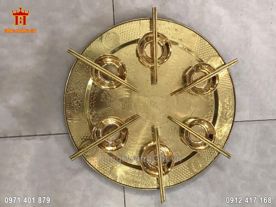 Bộ Mâm Bát Bằng Đồng Vàng Chạm Thủ Công Tinh Xảo