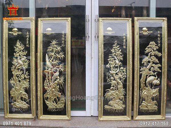 9 Bộ tranh tứ quý đồng vàng đẹp