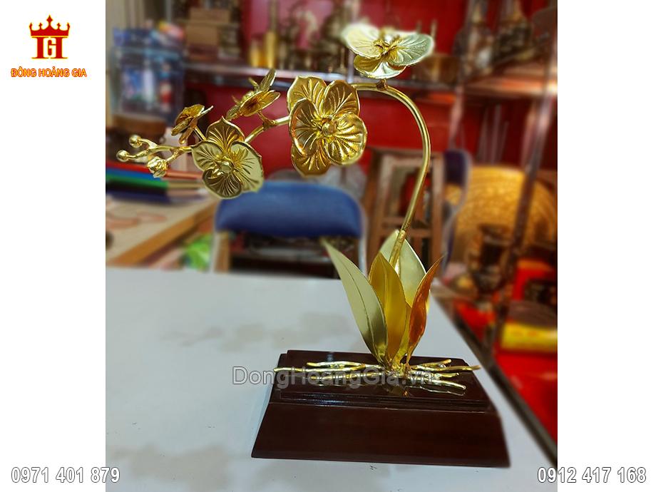 Cây Hoa Phong Lan Bằng Đồng Mạ Vàng 24K 30Cm