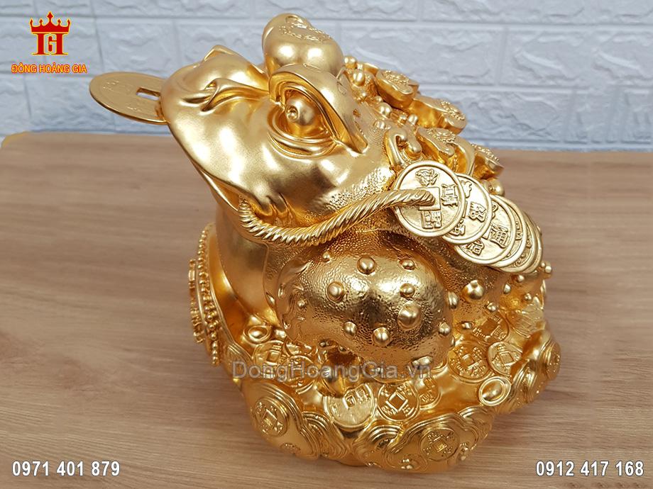 Cóc Ba Chân Ngậm Đồng Tiền Bằng Đồng Dát Vàng 9999 23Cm