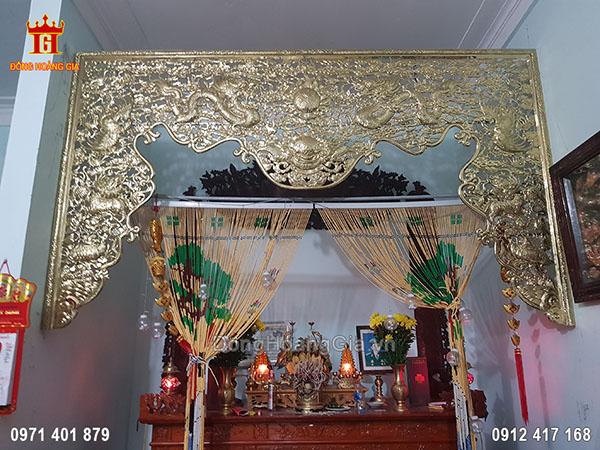 Cửa Võng Chạm Tứ Linh Đồng Vàng 3M68