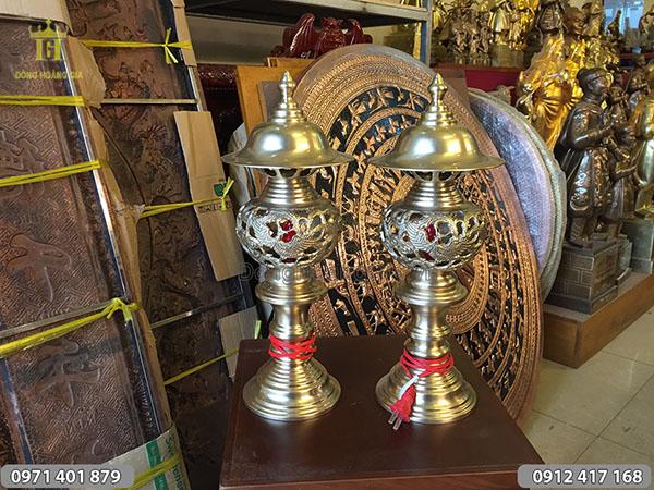 Đèn điện thờ mẫu rồng phượng cao 42cm