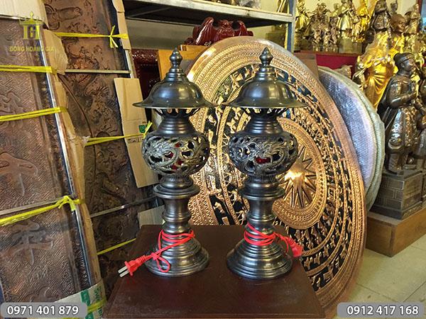 Đôi đèn long phụng hun đen cao 42cm