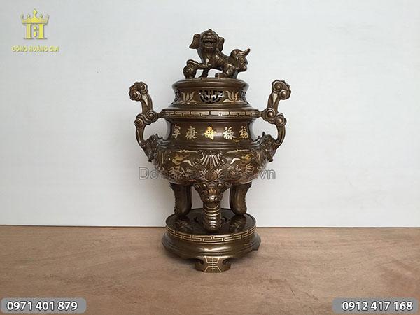 Đỉnh đồng khảm tam khí chữ vàng cao 50cm