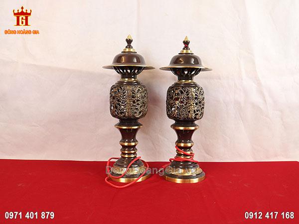 Đôi đèn thờ bằng đồng hun highlight 36cm