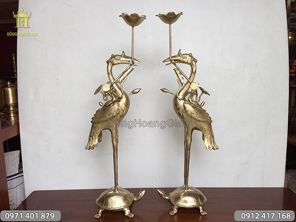 Đôi hạc thờ đúc bằng đồng vàng cao 70cm