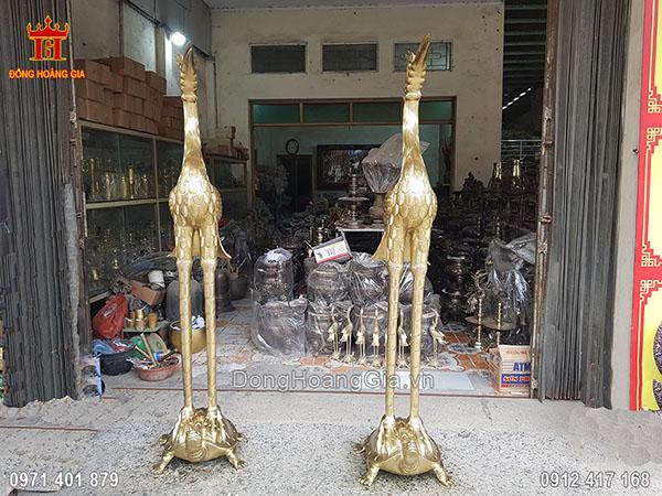 Đôi Hạc Thờ Cúng Bằng Đồng Vàng 2M17