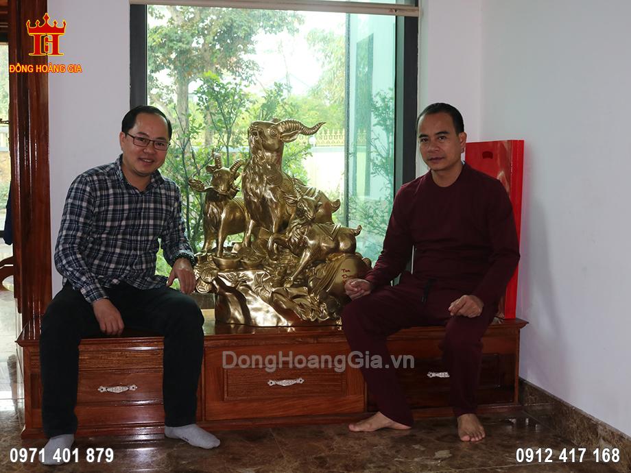 Tượng đồng Tam Dương Khai Thái 81cm