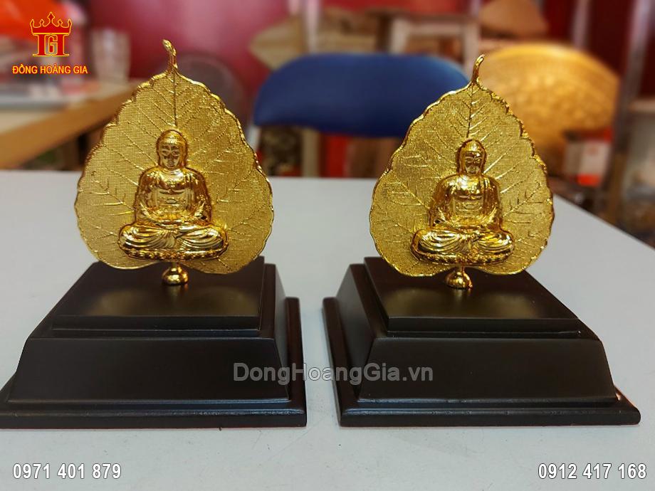 Lá Đề Hình Phật Hai Mặt Bằng Đồng Mạ Vàng 24K