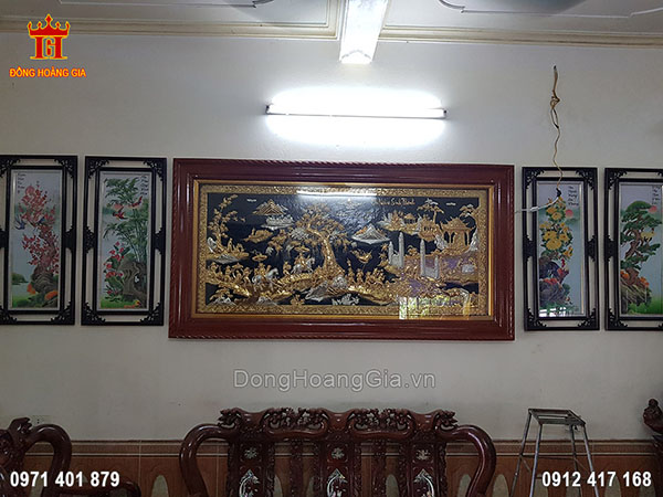 Lắp Đặt Tranh Đồng Vinh Quy Bái Tổ Mạ Vàng Mạ Bạc 2M3 Tại Nam Định