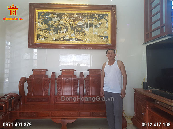 Lắp Đặt Tranh Đồng Vinh Quy Bái Tổ Mạ Vàng Mạ Bạc 2M3 Tại Nghệ An