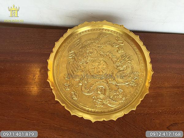Mâm bồng đồng vàng đúc rồng nổi