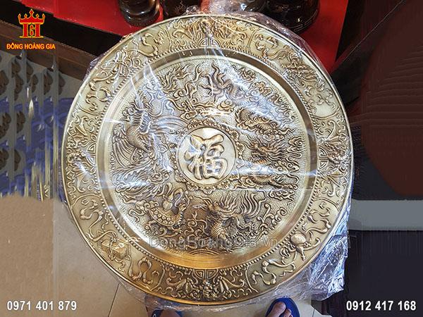 Mâm Đồng Tứ Linh Chữ Phúc Đồng Vàng Hun Giả Cổ 55Cm