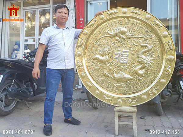 Mâm Đồng Tứ Linh Chữ Phúc Mạ Bạc 1M27