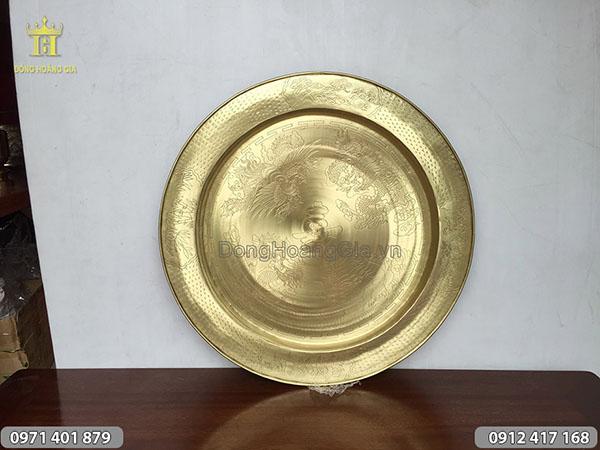 Mâm đồng vàng chạm tứ linh đường kính 55cm