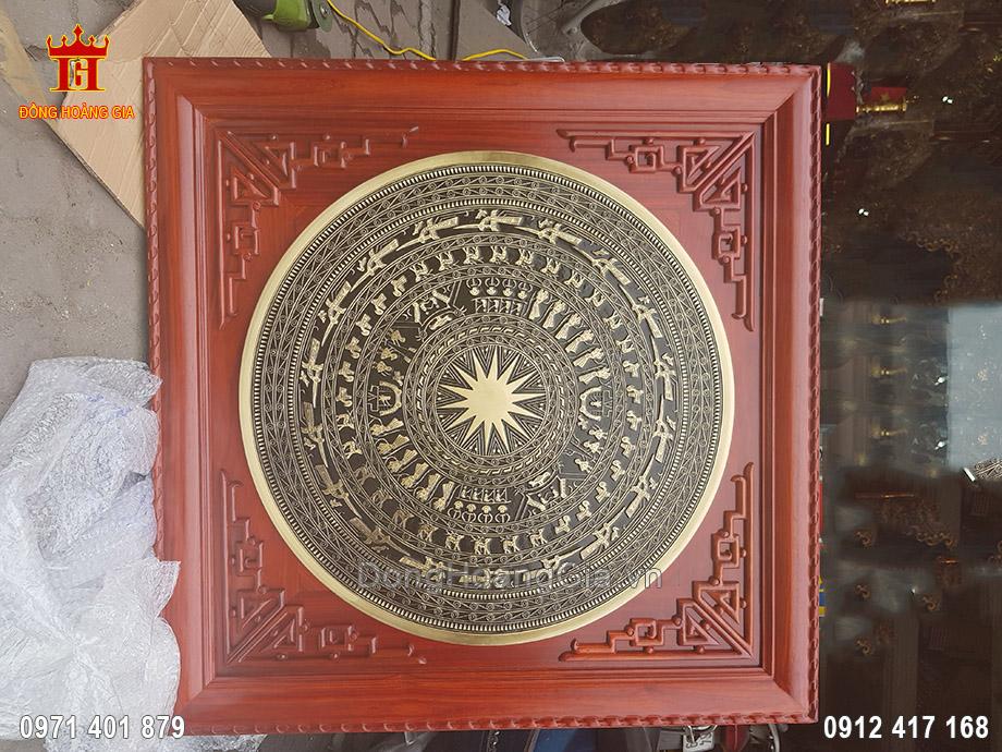 Mặt Trống Đồng Đúc Khung Gỗ Hương 80cm