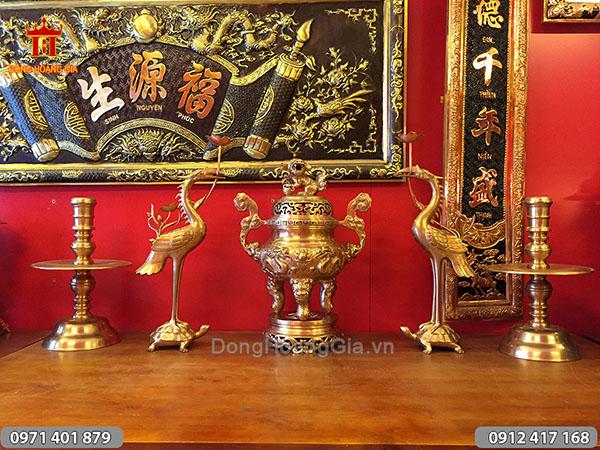 Ngũ sự đúc bằng đồng đỏ rồng nổi cao 50cm