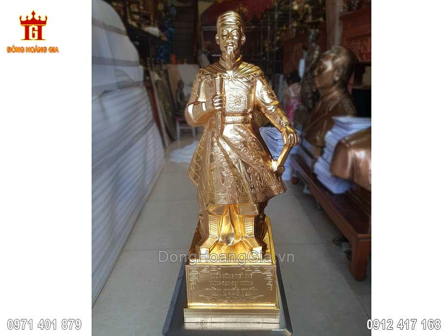 Pho Tượng Đồng Trần Hưng Đạo Dát Vàng 9999 70Cm