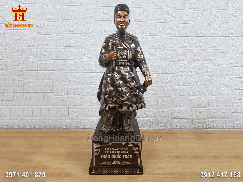 Pho Tượng Đồng Trần Hưng Đạo Khảm Tam Khí Kỹ 70Cm