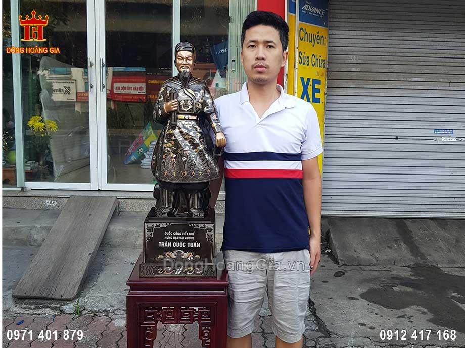 Pho Tượng Đồng Trần Hưng Đạo Khảm Tam Khí Kỹ 90Cm