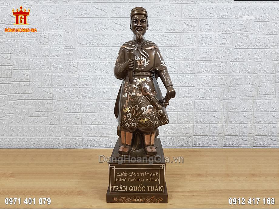 Pho Tượng Đồng Trần Hưng Đạo Khảm Tam Khí Thường 70Cm