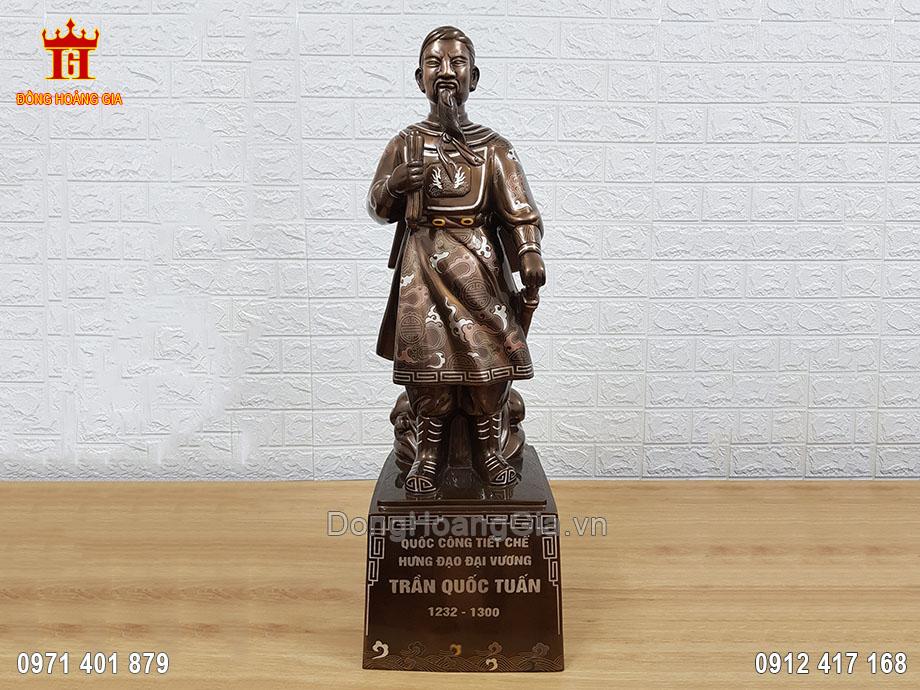 Pho Tượng Đồng Trần Quốc Tuấn 70Cm Khảm Ngũ Sắc