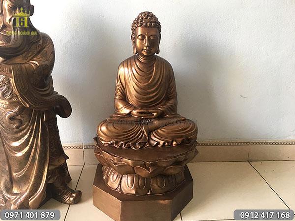 Pho tượng Phật ngồi đài sen bằng đồng hun 70cm