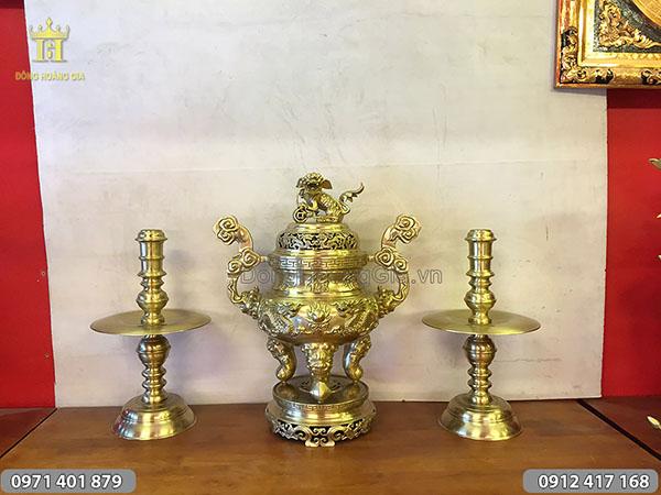 Tam sự bằng đồng vàng đỉnh long phụng 70cm