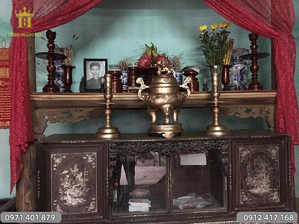 Tam sự đồng đỏ 60cm bày bàn thờ