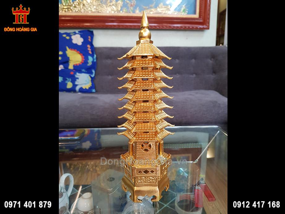 Tháp Văn Xương 9 Tầng Bằng Đồng Dát Vàng 9999