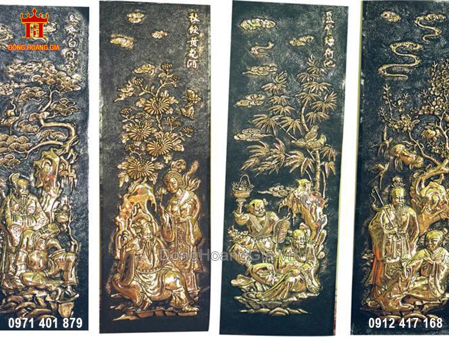 Tranh Bát Tiên bằng đồng 1m18