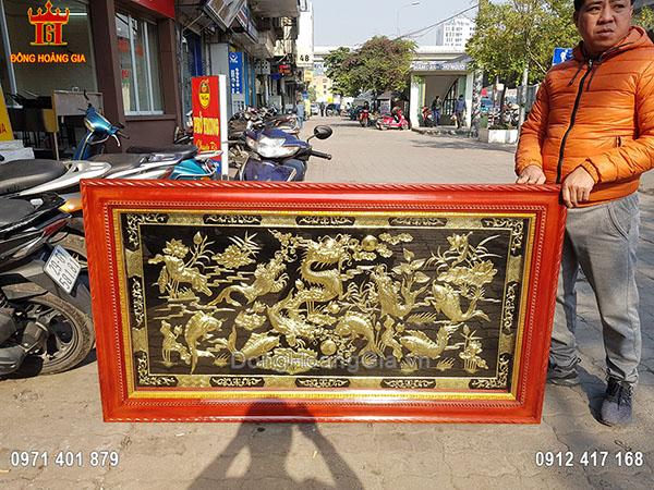 Tranh Cá Chép Hóa Rồng Đồng Vàng Nền Đen 1M68