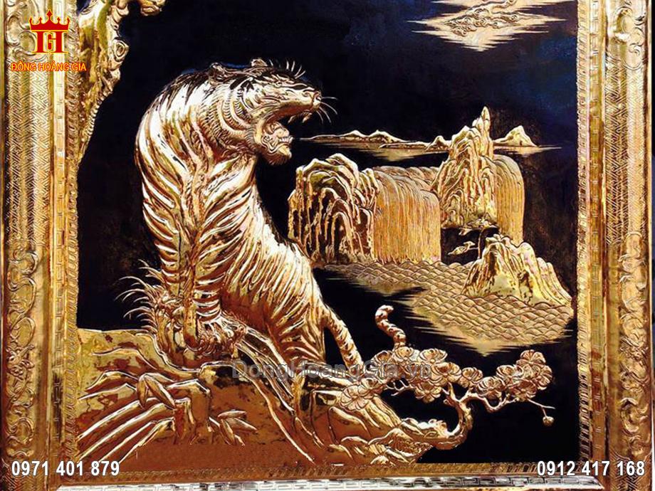 Tranh đồng chúa Sơn Lâm mạ vàng 24K