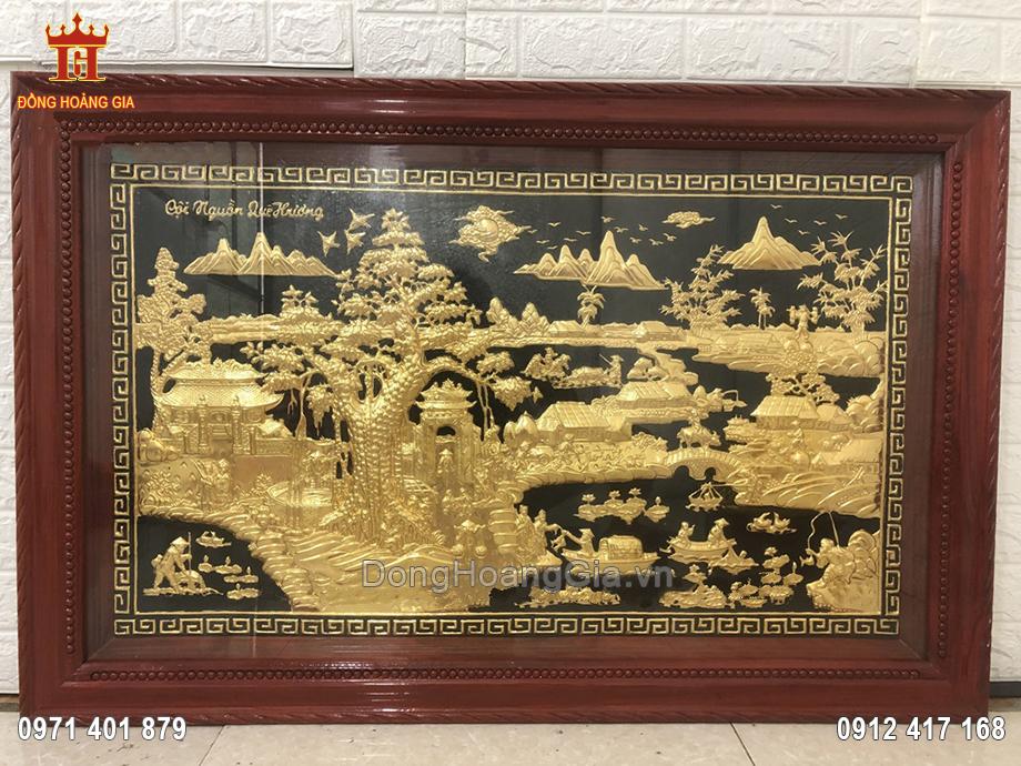 Tranh đồng cội nguồn quê hương dát vàng 9999 1m8