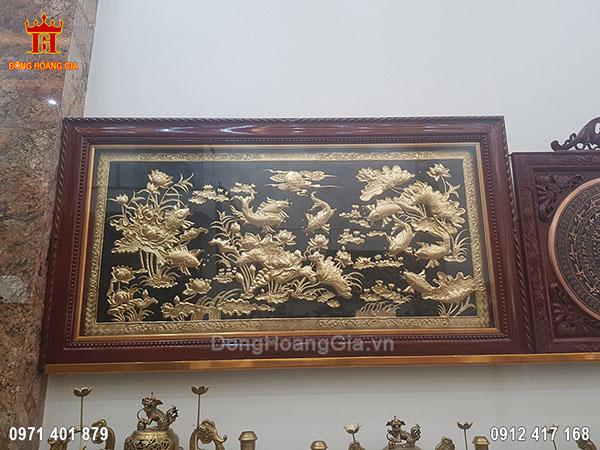 Tranh Đồng Cửu Ngư Hoa Sen Dát Vàng 9999 1M76