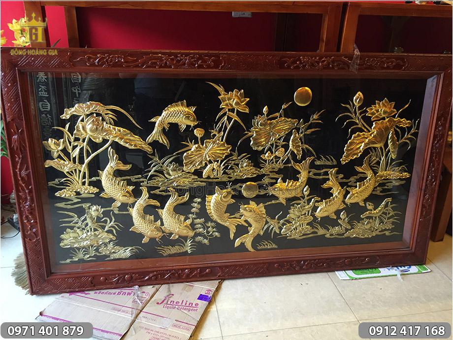 Tranh đồng Cửu Ngư Quần Hội dát vàng 1m97