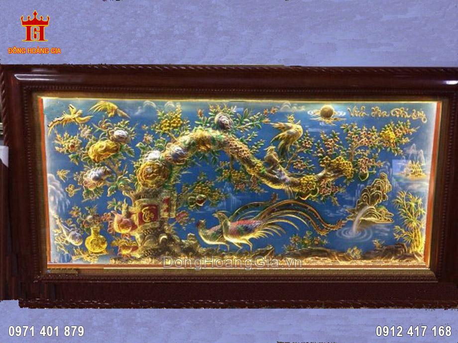 Tranh đồng Hoa Khai Phú Quý 1m8