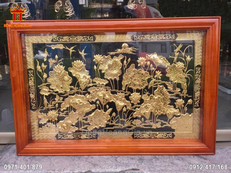 Tranh đồng hoa sen mạ vàng 24K 1m3