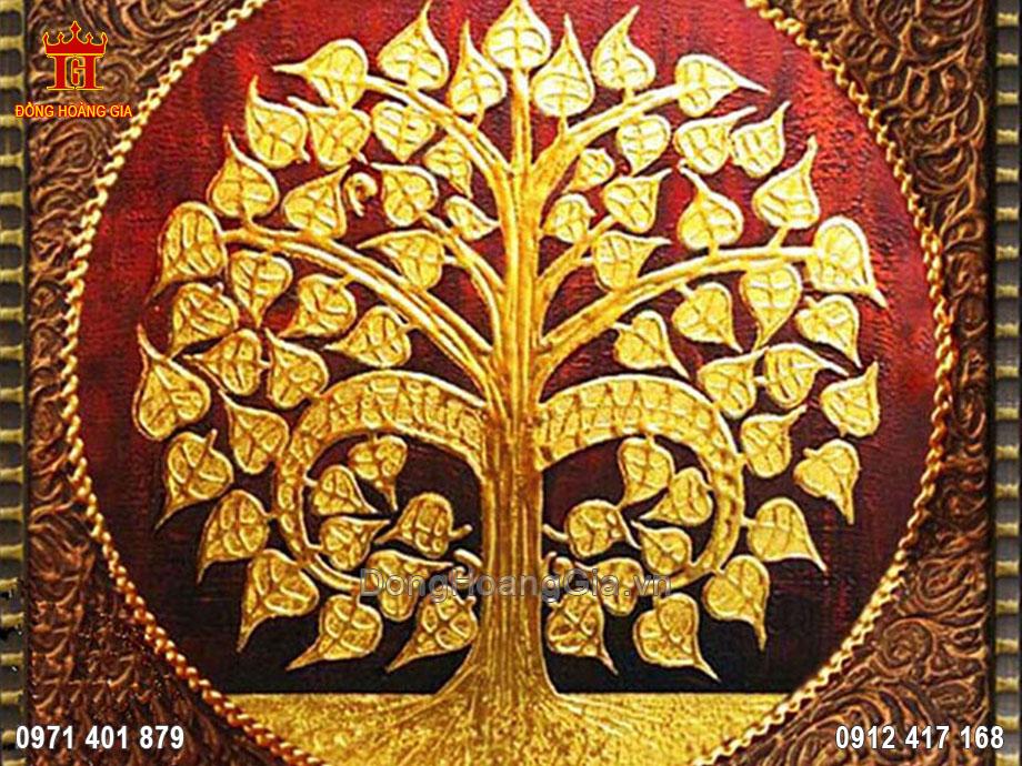 Tranh đồng cây bồ đề của Phật Bồ Tát mạ vàng 24K