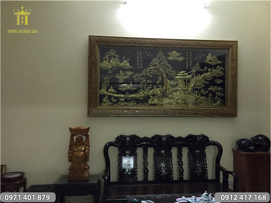 Tranh Đồng Quê Bằng Đồng treo Phòng Khách 2m3