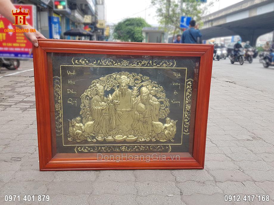 Tranh Đồng Tam Đa Phúc Lộc Thọ Đồng Vàng Hun Giả Cổ 1M