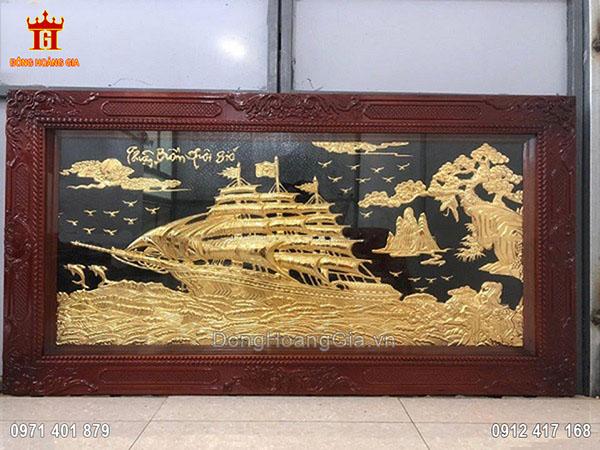 Tranh Đồng Thuận Buồm Xuôi Gió Dát Vàng 9999 1M7