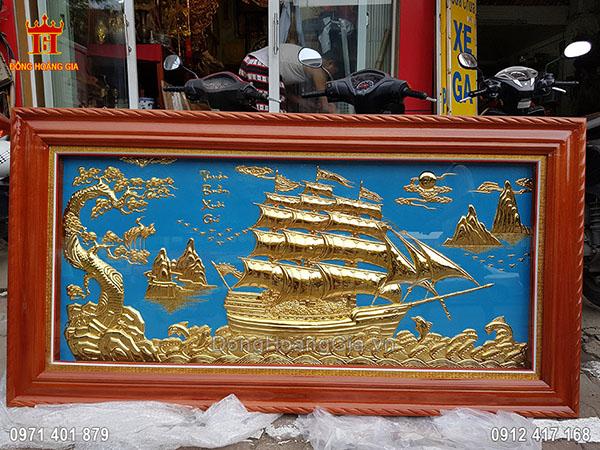 Tranh Đồng Thuận Buồm Xuôi Gió Dát Vàng 9999 Nền Xanh 1M55