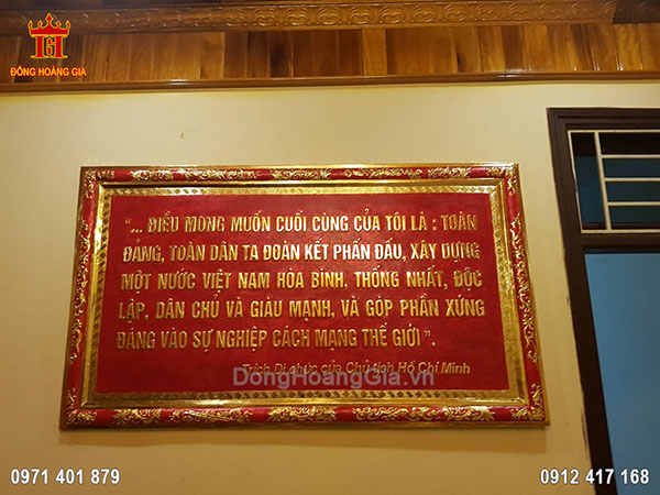 Tranh Đồng Trích Di Chúc Của Bác Hồ Khung Liền Đồng 1M55
