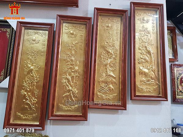 Tranh Đồng Tứ Quý Dát Vàng 9999 89Cm