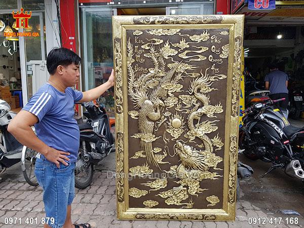 Tranh Đồng Vàng Long Phụng Hun Giả Cổ 2M