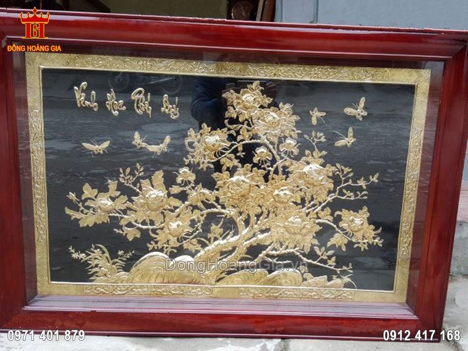 Tranh đồng vinh hoa phú quý mạ vàng 24K 1m